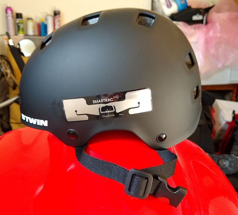 Helmet with a SMARTRAC tag attached